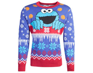 SESAME STREET cookie monster knitted xmas SWEATER