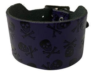 BRACELET skull cross bones purple leather WRISTBAND