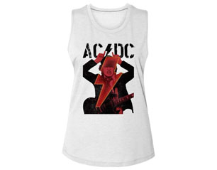 AC/CD angus horns and bolt skinny WHT TANK TOP