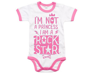 HEAVY METAL im not a princess pink/wht BABYGROW