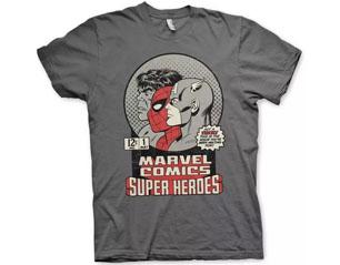 MARVEL COMICS vintage super heroes DARK GREY TS