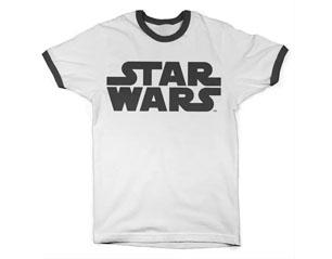 STAR WARS black logo ringer WHT TS