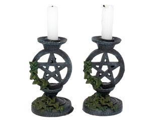SKULLS aged pentagram candlesticks 13.4cm FIGURE