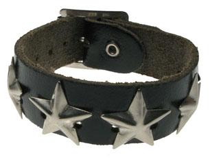 BRACELET 1 row star leather WRISTBAND