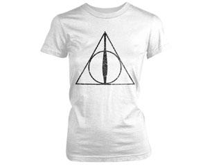 HARRY POTTER deathly hallows symbol white skinny TS