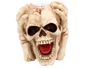 SKULLS splitting headache tea light 15.5cm FIGURE