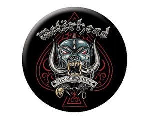 MOTORHEAD ace metallic BUTTON BADGE