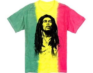 BOB MARLEY rasta vertical stripe tie dye TS